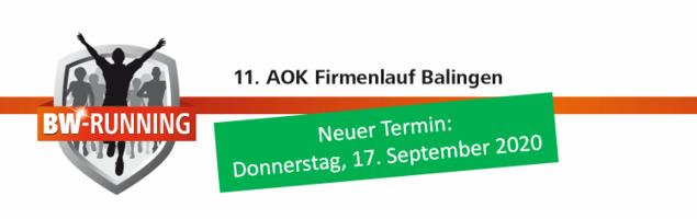 11. AOK Firmenlauf Balingen am Donnerstag, 17. September 2020 - Start: 18 Uhr - Balingen Marktplatz