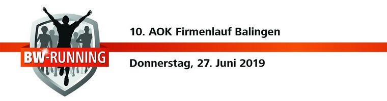 AOK Firmenlauf Balingen - Donnerstag, 27. Juni 2019 - Start: 19 Uhr - Balingen Marktplatz