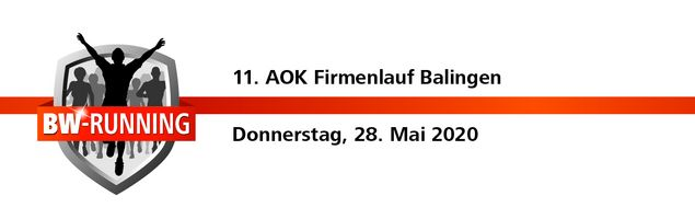 11. AOK Firmenlauf Balingen am Donnerstag, 28. Mai 2020 - Start: 19 Uhr - Balingen Marktplatz